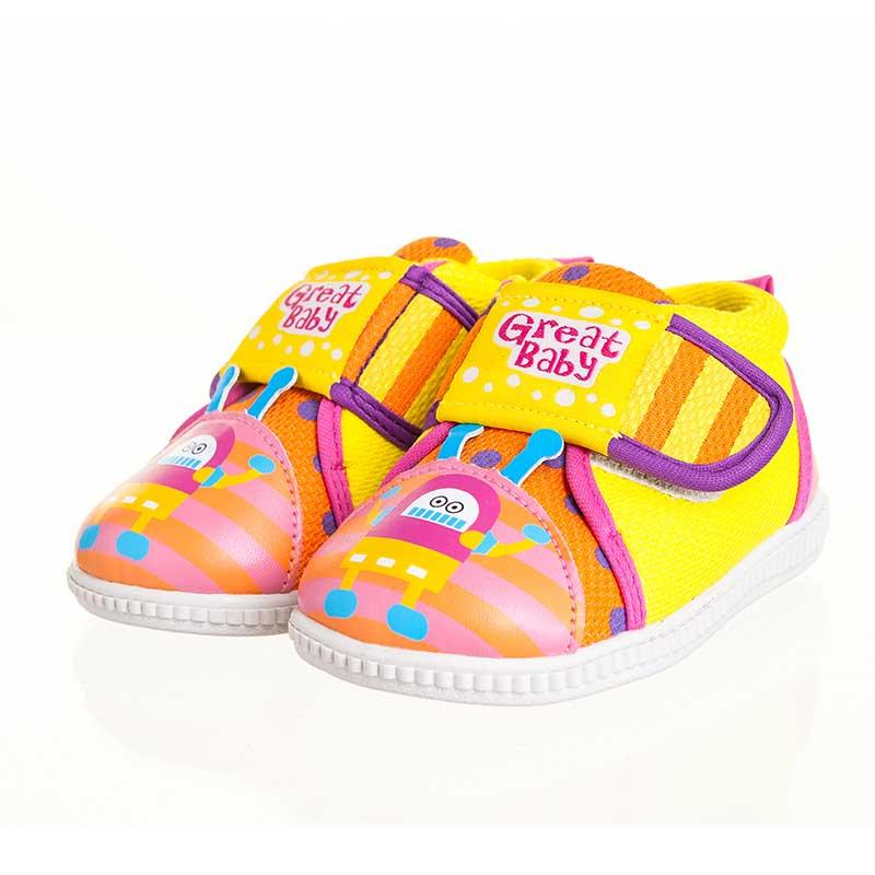 歌瑞贝儿(新)--机器人叫叫鞋(女婴儿鞋)GB143-008SH黄15CM