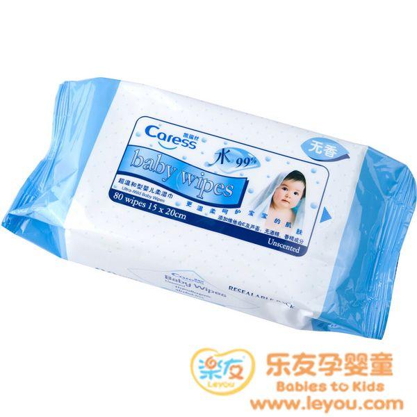 凯瑞丝超温和婴儿柔湿巾99%纯水柔韧棉体呵护不刺激80片/包