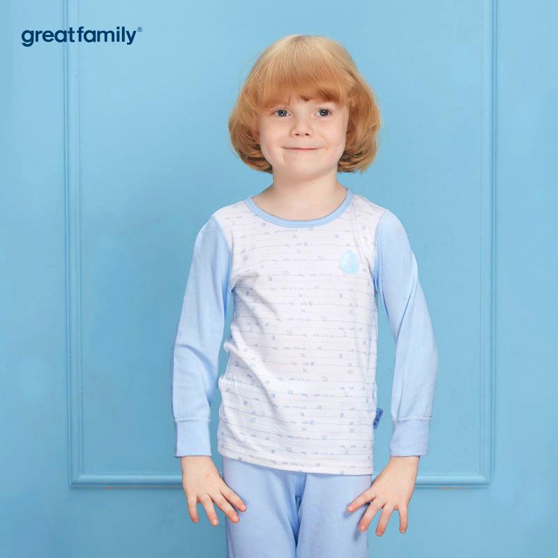 歌瑞家(Greatfamily)A类男童混色圆领长袖内衣