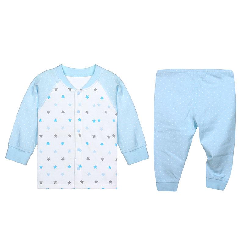 歌瑞贝儿A类男婴蓝色纯棉对襟套装