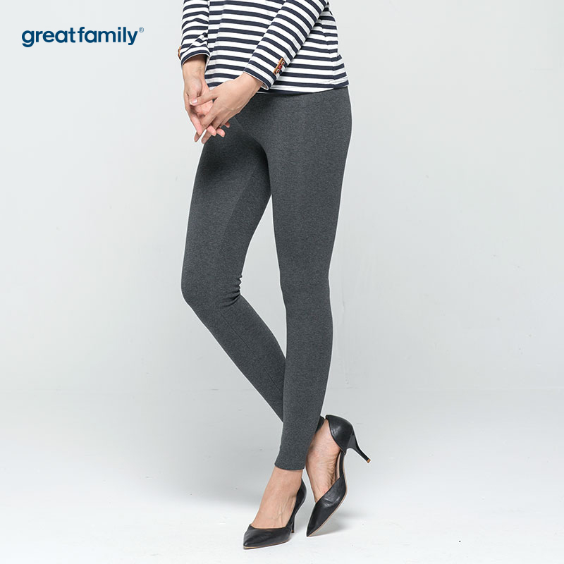 歌瑞家(greatfamily)灰色修身百搭磨毛打底裤