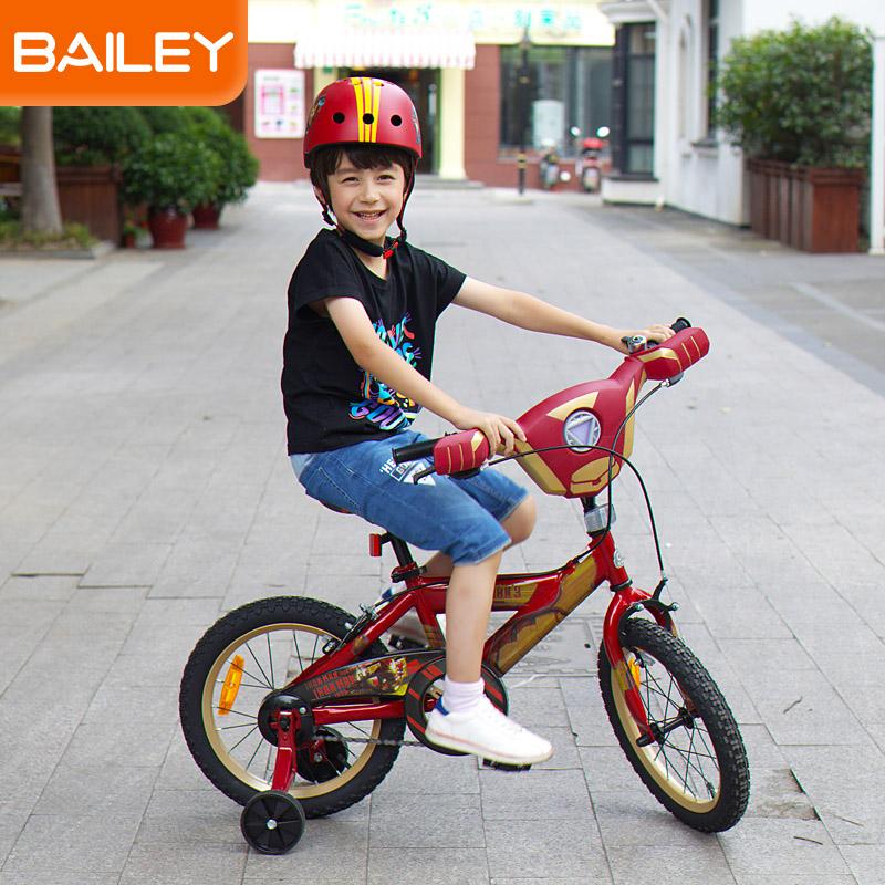 贝乐童车迪士尼系列钢铁侠音乐自行车14寸 红色