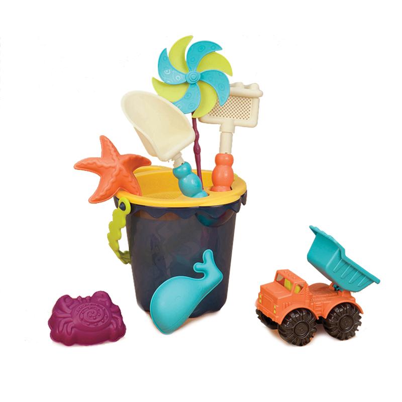 B.Toys比乐儿童沙滩玩具宝宝水桶玩沙挖沙风车沙铲沙耙小车玩具套装