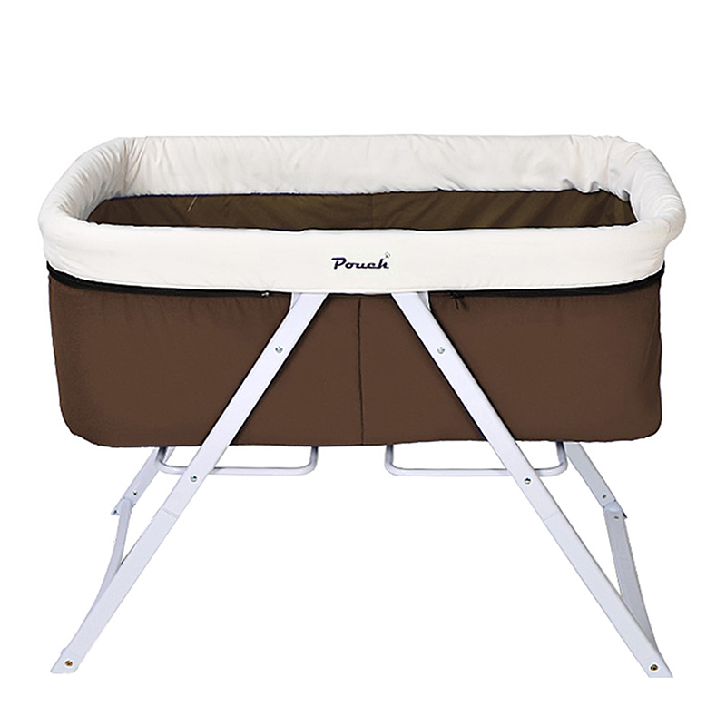 Pouch便携可折叠宝宝床BB床全布款H19咖啡色