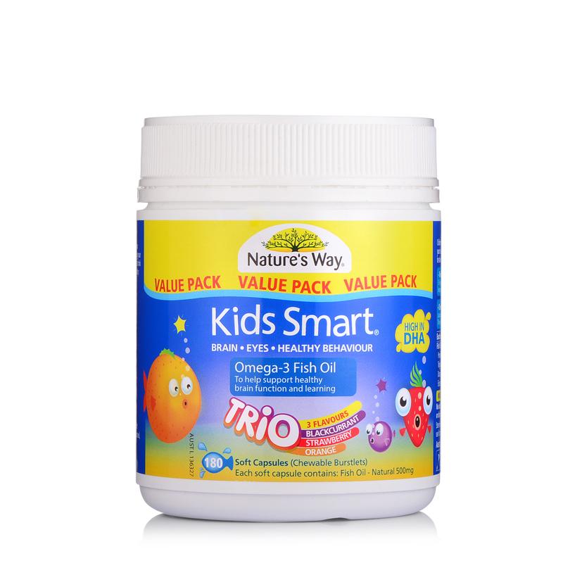澳洲Naturesway佳思敏KidsSmart儿童DHA益智深海鱼油胶囊180粒水果口味包邮包税