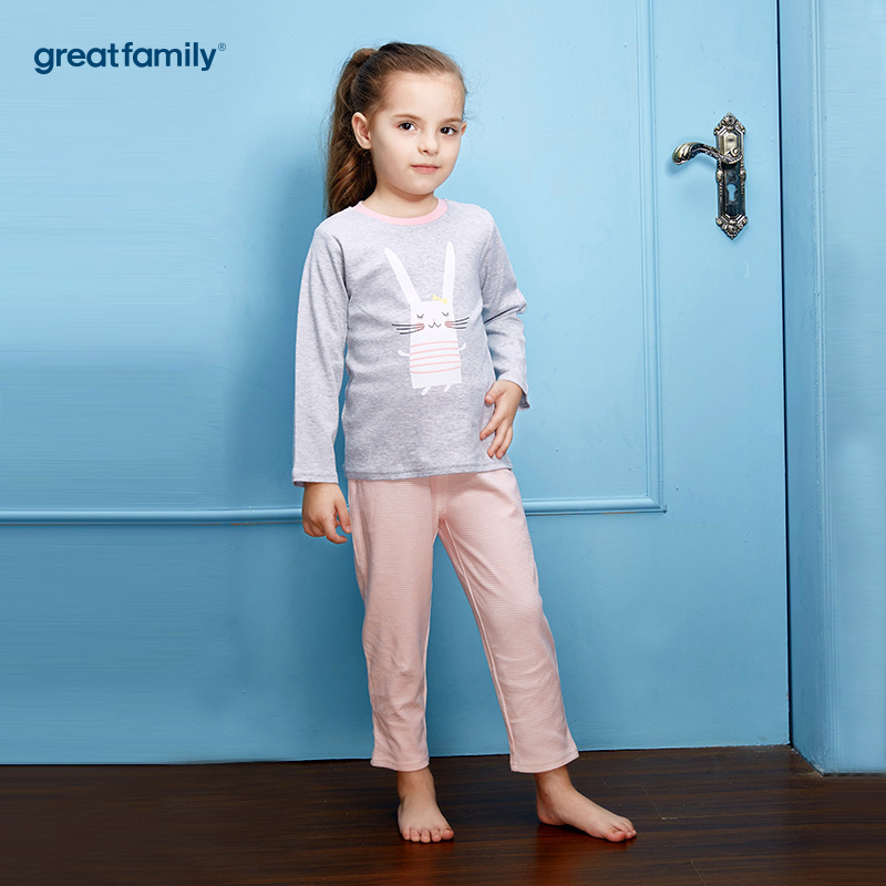 歌瑞家(Greatfamily)A类双面布纯棉女童花灰色小兔子印花图案上衣粉条纹裤子圆领套装/家居套装