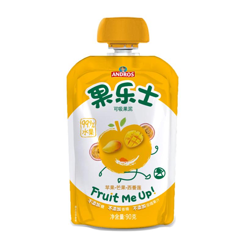安德鲁果乐士苹果芒果西番莲可吸果泥90g进口原料无何添加
