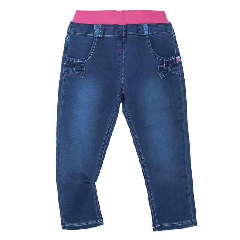 歌瑞家A类女童牛仔色直筒针织牛仔长裤