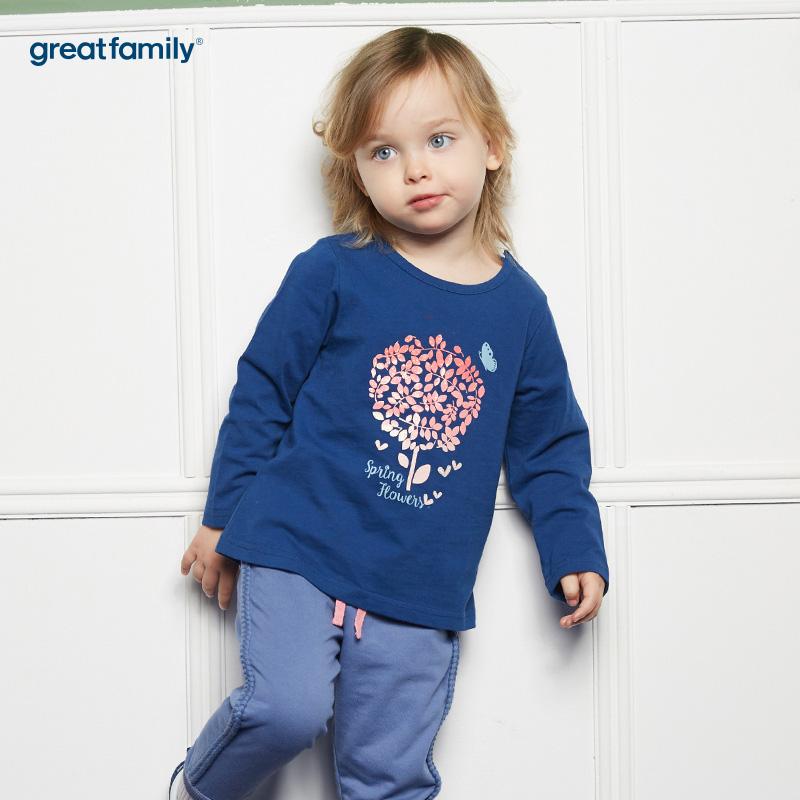 歌瑞家(婴外)A类梦想王国蓝色女印花T恤