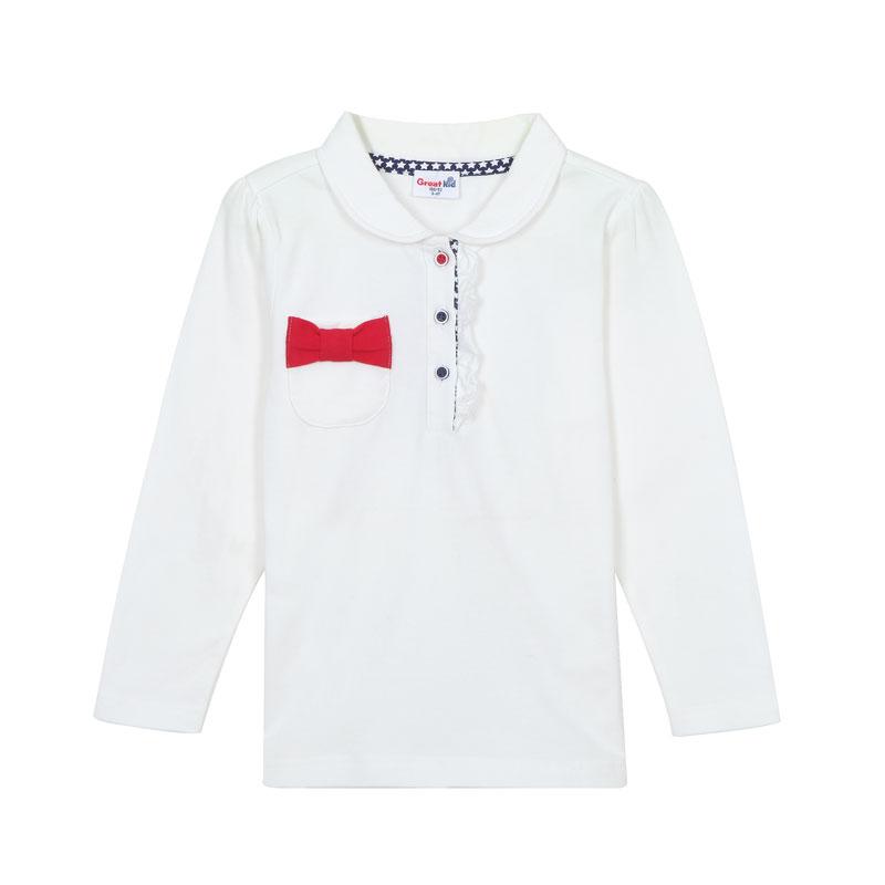 歌瑞家A类女童本白色POLO领长袖T恤