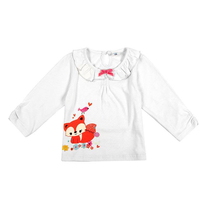 歌瑞贝儿A类女婴白色纯棉小狐狸T恤