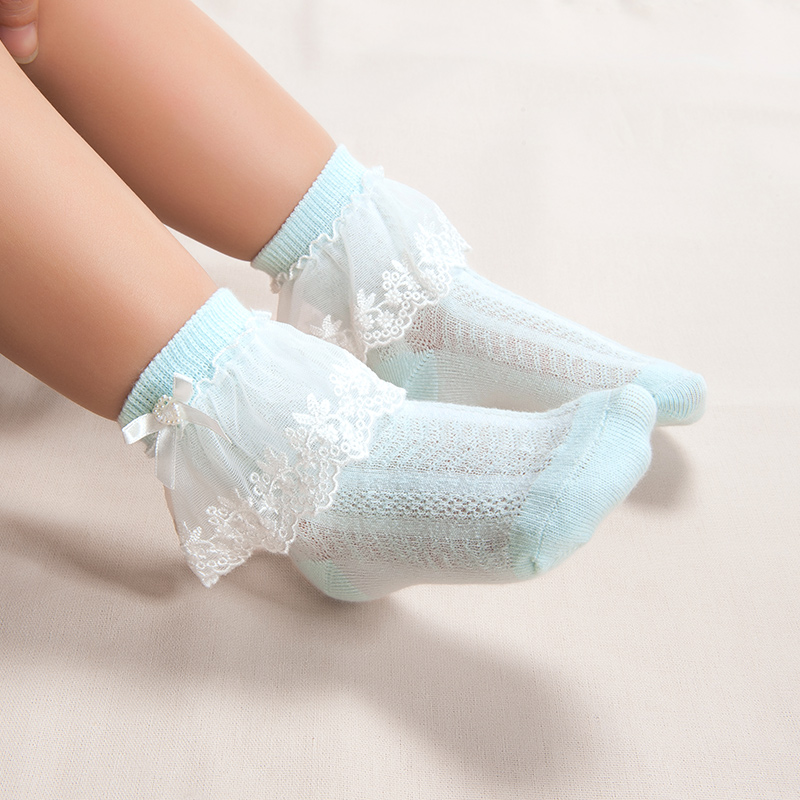 歌瑞家greatfamily基础系列女童平纹花边短袜(2双装)