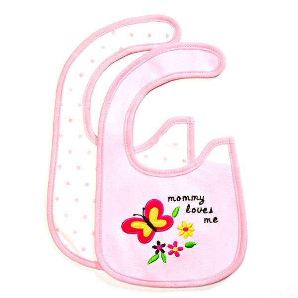 歌瑞贝儿--2件装小蝴蝶口水巾(粉-混码)