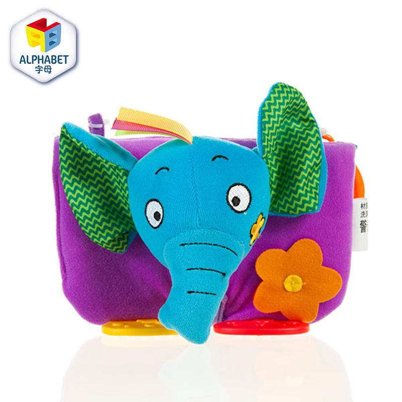 字母宝宝益智早教大象小布书 带牙胶 益智毛绒玩具