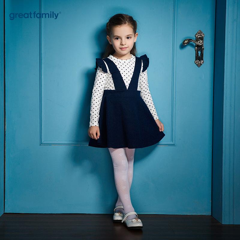 歌瑞家(Greatfamily)A类可爱精灵女童藏青色白色波点假两件花边袖背带针织连衣裙