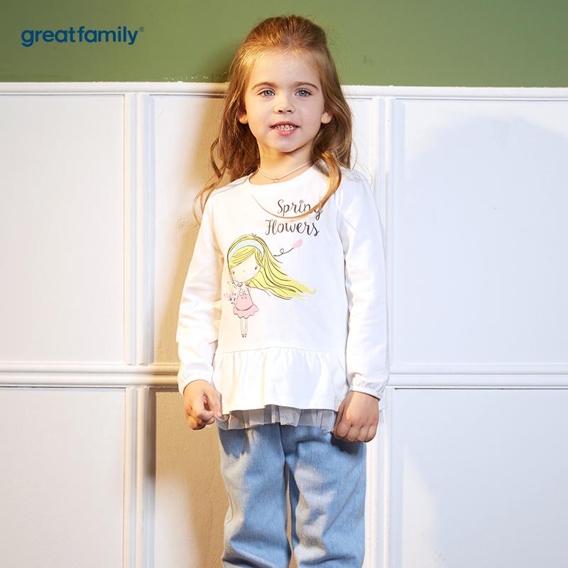 歌瑞凯儿(新)A类可爱精灵白色女童长袖T恤