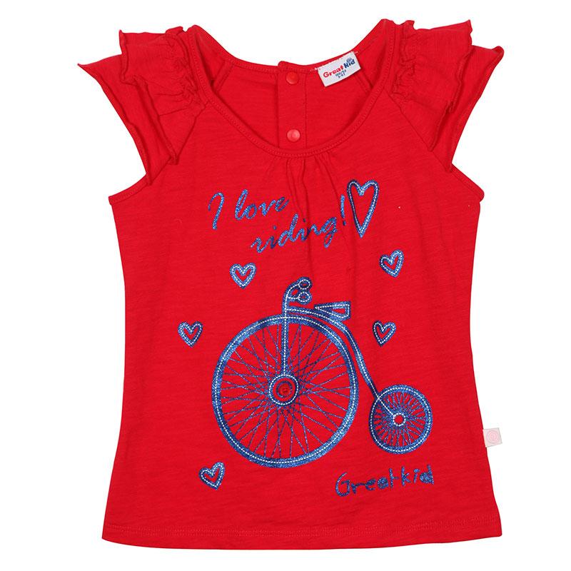 歌瑞凯儿A类女童红竹节圆领插肩短袖T恤