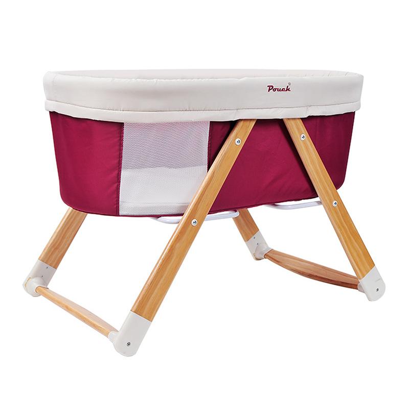 Pouch多功能便携式可折叠无漆摇篮床H26红色