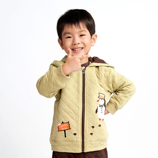 歌瑞凯儿(新)--男童保暖绗线连帽外套GK133-033WW绿90