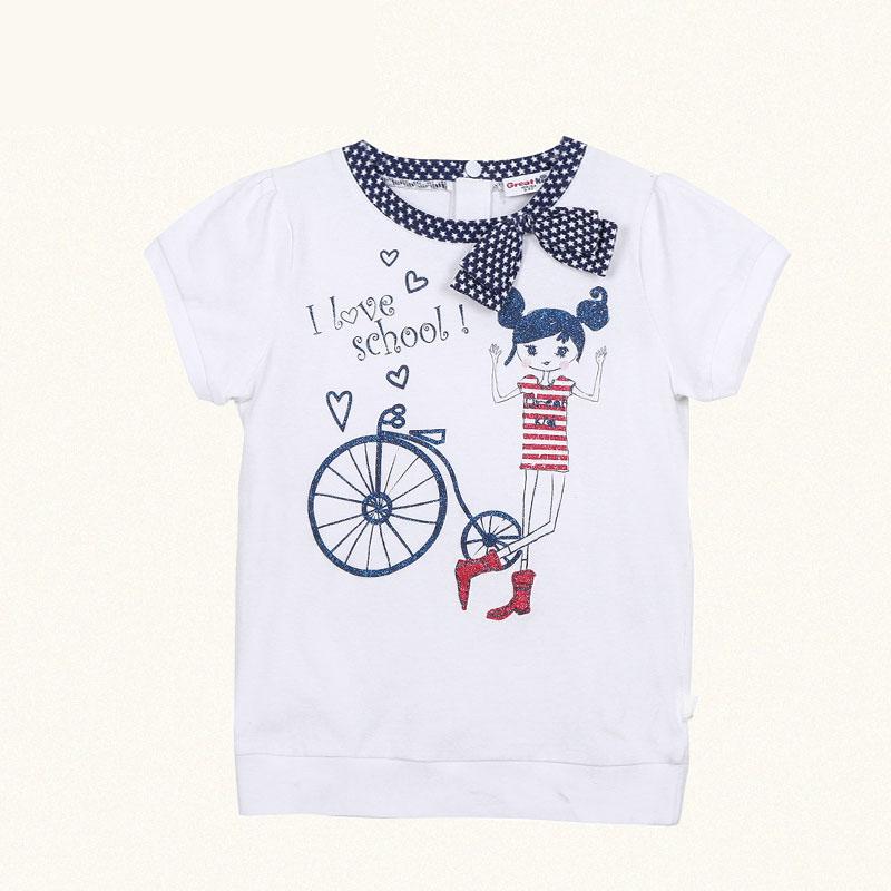 歌瑞凯儿A类女童白色针织圆领缩口短袖T恤