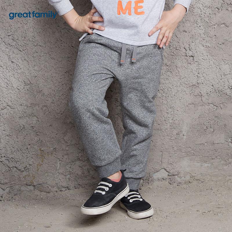 歌瑞家(Greatfamily)A类男童灰色提花夹棉针织裤/卫裤