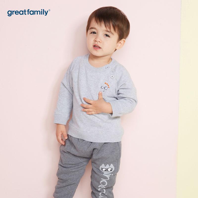 歌瑞家(Greatfamily)A类男宝宝灰色黄金绒内里套头针织衫