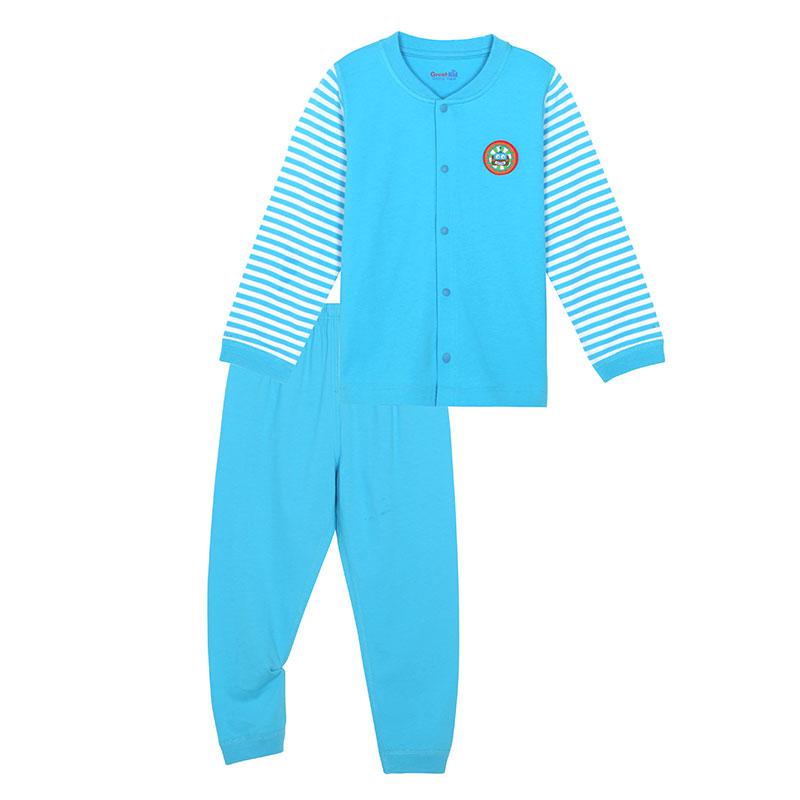 歌瑞凯儿A类男童蓝色纯棉对开套装