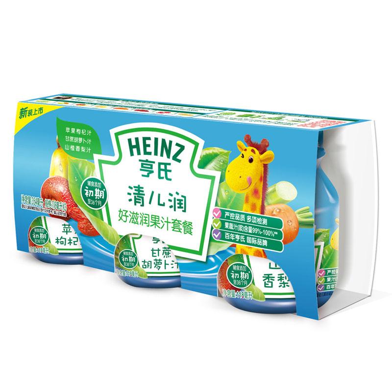 Heinz亨氏清儿润好滋润果汁套餐枇杷清梨苹果枸杞甘蔗胡萝卜354ml