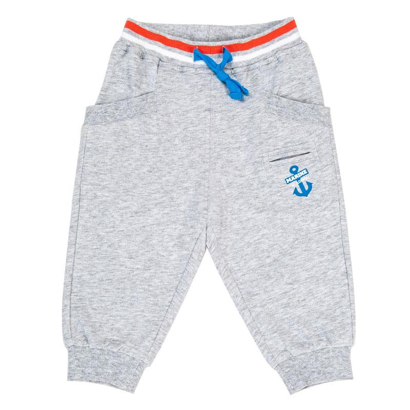 歌瑞家夏季A类纯棉男童灰色针织七分裤