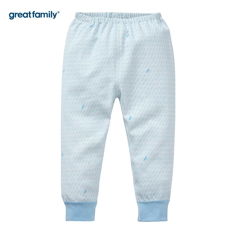 歌瑞家(Greatfamily)A类男宝宝纯棉蓝色睡裤/开闭裆长裤