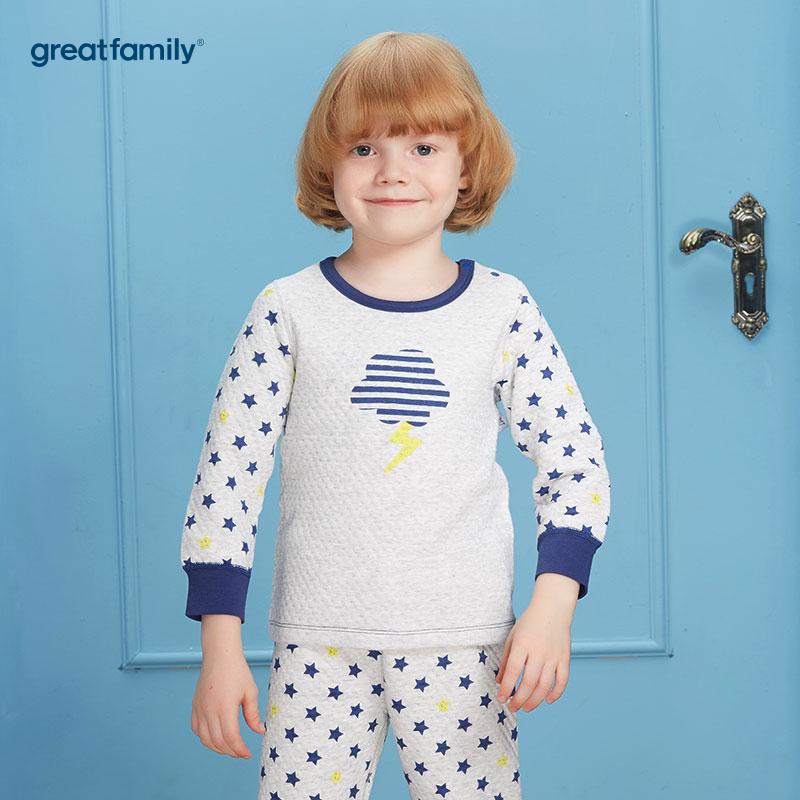 歌瑞家(Greatfamily)A类男童花色三保暖圆领长袖内衣/家居服