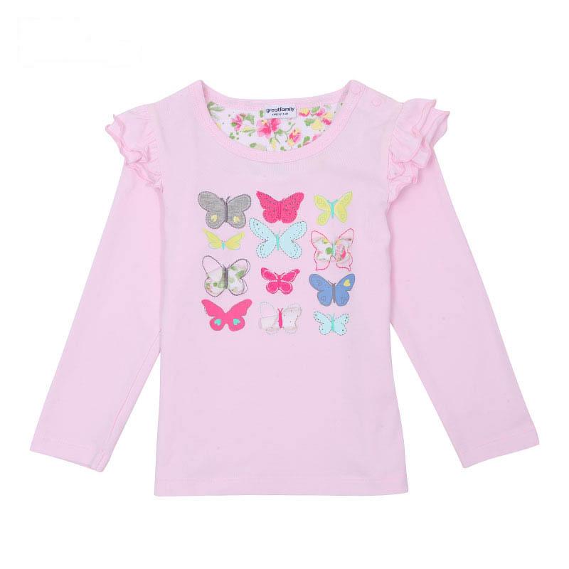 歌瑞家A类女童粉色圆领长袖T恤