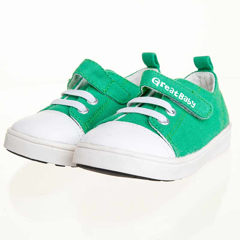 歌瑞贝儿(新)--百搭帆布鞋(男婴儿鞋)GB143-013SH绿14.5CM