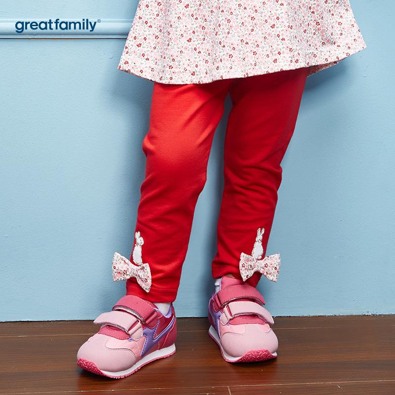 歌瑞家(Greatfamily)比得兔(Peterrabbit)A类女宝宝红色纯棉小碎花蝴蝶结打底裤