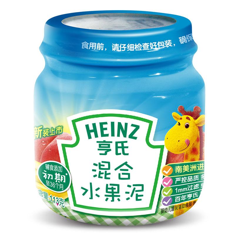 Heinz亨氏混合水果泥6个月以上113g原料全球选材原汁原味真空无菌灌装