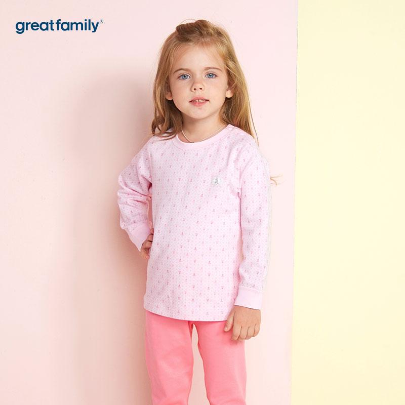 歌瑞家(Greatfamily)比得兔(PeterRabbit)A类女童蓝色印花圆领内衣/家居服