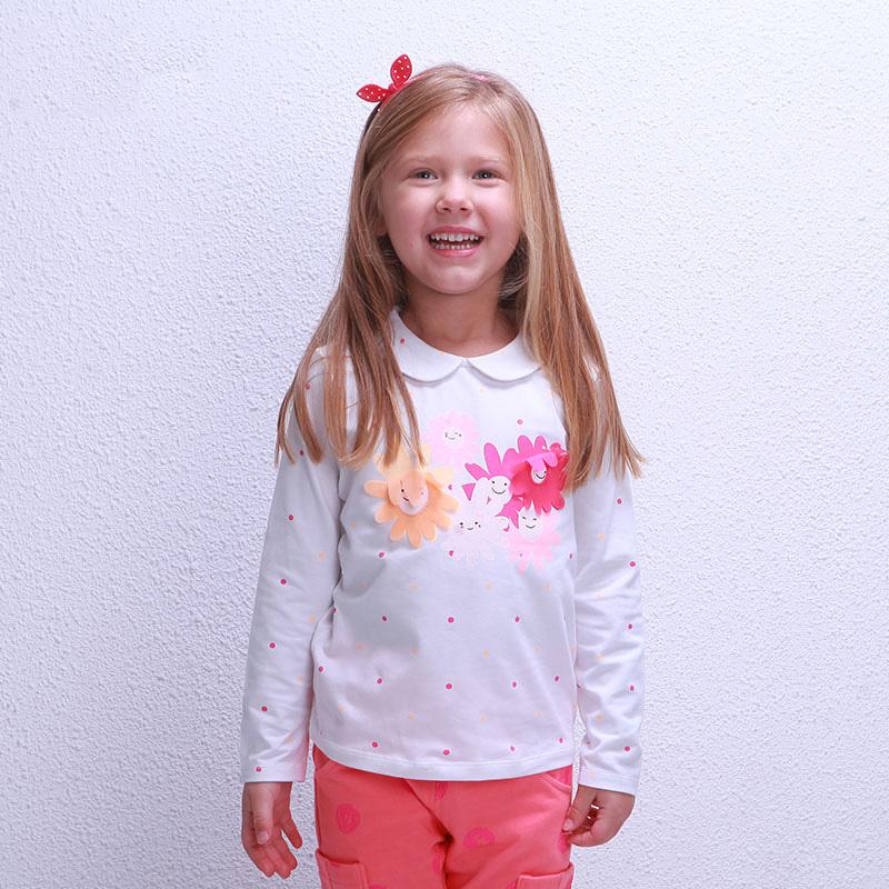 歌瑞凯儿A类女童花色娃娃领T恤