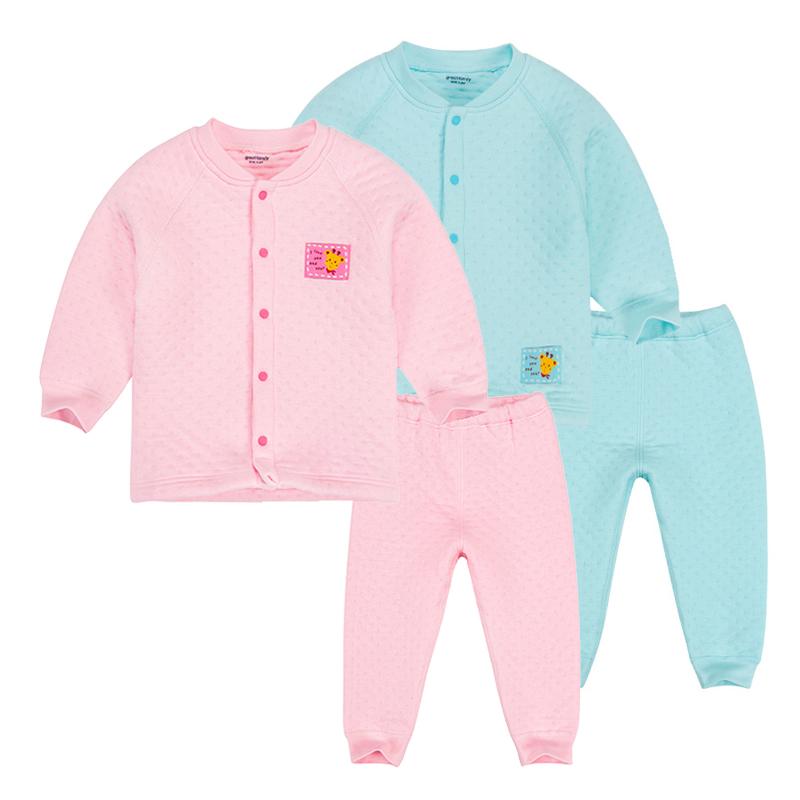 歌瑞家A类女宝宝粉色厚三保暖对襟套装