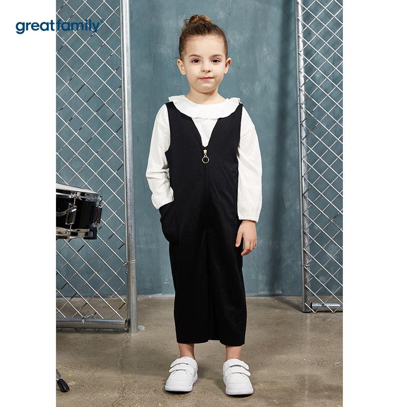 歌瑞家(Greatfamily)A类酷帅宝贝女童黑色切边针织连体裤