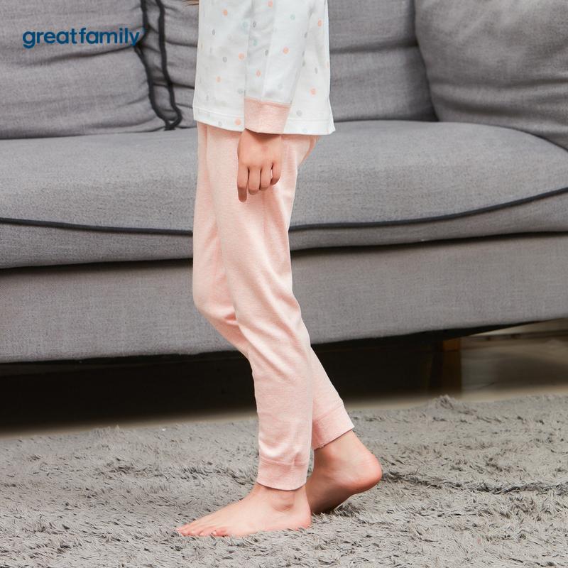 歌瑞家A类花纱双面布系列粉色女女童长裤