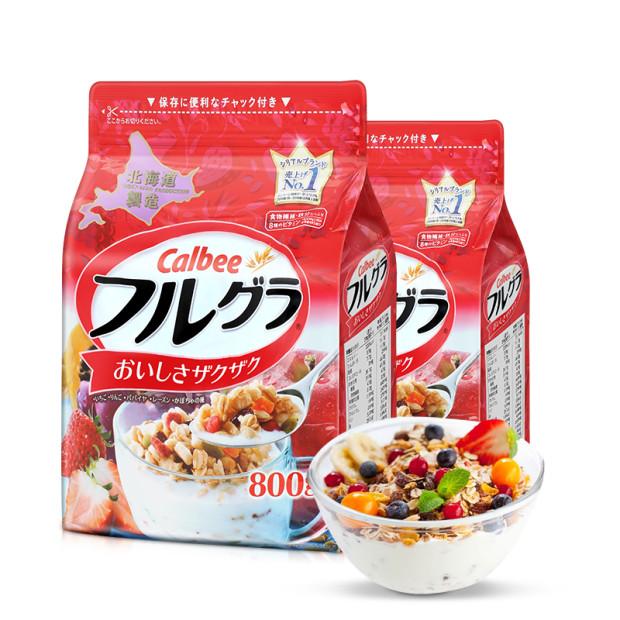 【乐海淘】日本卡乐比CALBEE水果麦片(北海道产)800g*2包 保税区直发