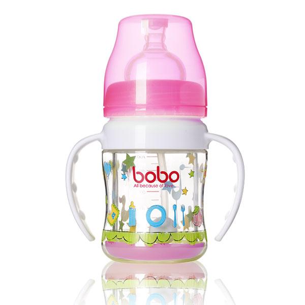 BOBO乐儿宝宽口径变流量安全玻璃自动奶瓶120ml奶嘴仿真设计