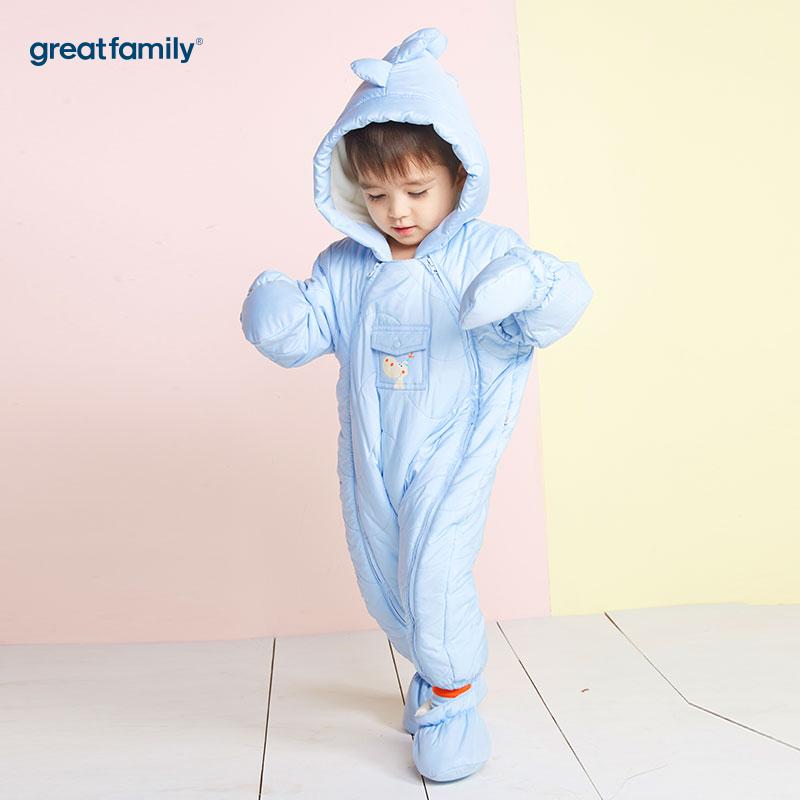 歌瑞家(Greatfamily)A类男宝宝蓝色小恐龙造型连帽连身棉服