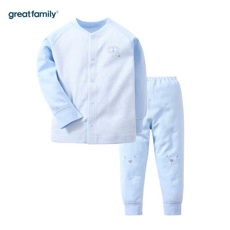 歌瑞家(新)A类双面布蓝条男对襟套装