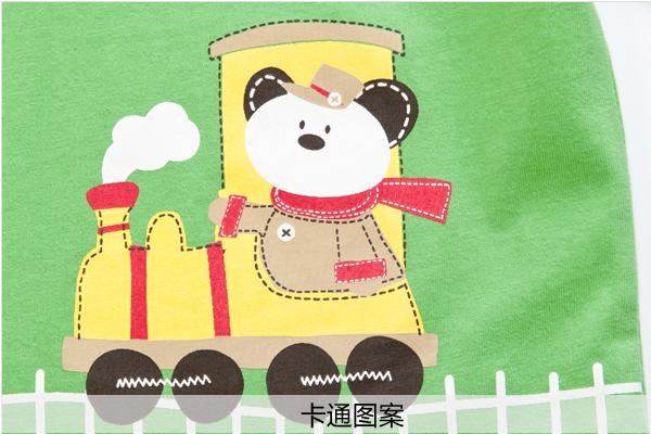 歌瑞凯儿(新)--男童可爱小火车花t恤gk133-227ta绿90件